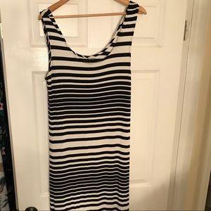 🖤 Black & White Striped Maxi Dress